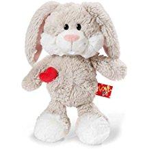 Conejito blanco y beig con corazón rojo