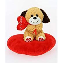 Perrito con corazón rojo y plataforma de corazón