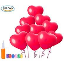 100 globos corazón rojos
