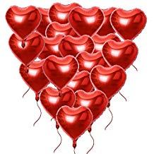 20 globos de helio rojo de corazones