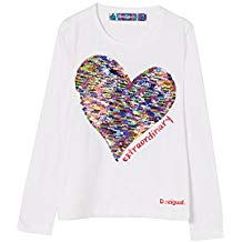 Camiseta manga larga niña con corazón central