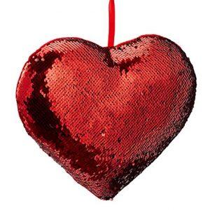 Cojín lentejuelas rojo de corazó