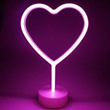Lámpara de neón corazón rosa
