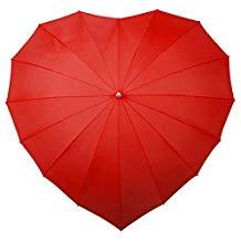 Paraguas rojo de corazón