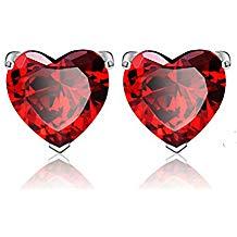 Pendientes con Aretes Corazón rojo