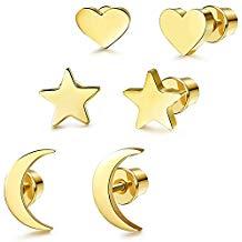 Piercing corazón dorado oreja