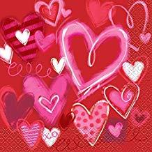 Servilletas rojas de corazones