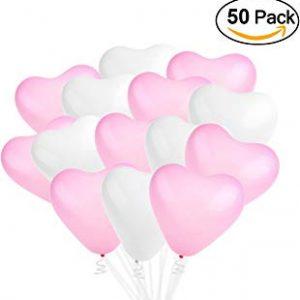 50 globos de corazones